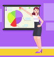 a woman in the office shows charts and diagrams vector image