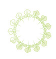 silhouette beauty circle of leaves decoration vector image