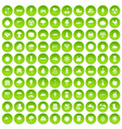 100 fruit icons set green circle vector image vector image