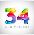 34 anniversary color logo vector image vector image