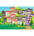 A grandmother with a cane walking at the hilltop vector image