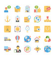 a pack logistic delivery flat icons vector image