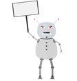 angry robot protesting and holding sign vector image
