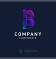 b company logo design with visiting card vector image vector image