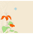 Background with stylized flowers and butterfly EPS