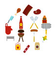 bbq food icons set in flat style vector image