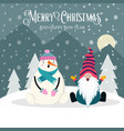 beautiful christmas card with gnome and snowman vector image vector image
