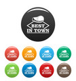 best in town steak icons set color vector image