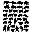 bison bear and wild boar silhouettes vector image