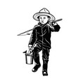 boy fishing - template for fishing design isolated vector image vector image