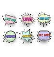 bright valentines retro comic speech bubbles set vector image