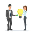 Business woman exchange money to idea with vector image