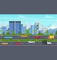 cartoon city panorama highway vector image vector image