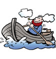 cartoon of a fisherman in his rowboat vector image