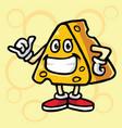 cheese cartoon fun cool mascot logo design vector image