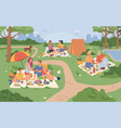 city park and people sitting on grass picnic food vector image