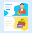 crowdfunding website with money wallet and man vector image vector image