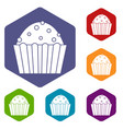 cup cake icons set hexagon vector image vector image
