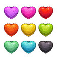 cute cartoon colorful fluffy hearts vector image vector image
