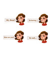 cute cartoon girls emotion set with speech bubble vector image