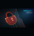 cyber security lock on blue background vector image