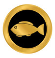 fish button on white vector image vector image