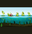 five green frogs in the pond vector image vector image