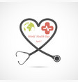 globe sign and stethoscope logo design vector image vector image
