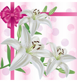 Greeting or invitation card with flower lily vector image