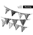hand drawn sketch holidays bunting flags black vector image