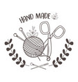 Hand made sewing wool roll and needles with