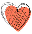 heart drawing on white background vector image vector image