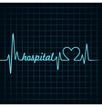 heartbeat make a hospital text and heart symbol vector image vector image