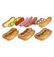 hot dog and element food icon set cartoon hand vector image