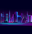 illuminated modern city night landscape vector image vector image