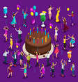 isometry big celebratory cake with candles vector image vector image