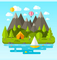landscape with mountains river and green trees vector image