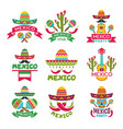 mexican labels set colored designs of vector image