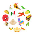 mexico isometric 3d icons vector image vector image