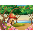 Mushroom house by the lake vector image vector image