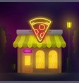 pizzeria cafe building night city pizza cafe vector image