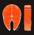 raw salmon steak fillet vector image