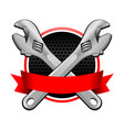 red colored ribbon wrench cross emblem vector image