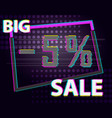 sale discount poster glitch anaglyphic text vector image vector image