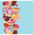Seamless pattern colorful sticker candy sweets and vector image