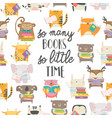 seamless pattern with cute animals reading books vector image vector image