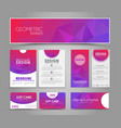 set pink corporate style polygonal vector image