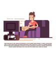 single girl with cat and cup of tea watch tv vector image