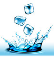 splash of liquid from falling pieces of ice high vector image vector image
