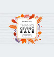 thanksgiving autumn sale text poster for vector image vector image